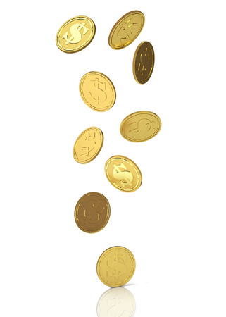 Golden coins with dollar sign. 3D Illustration.