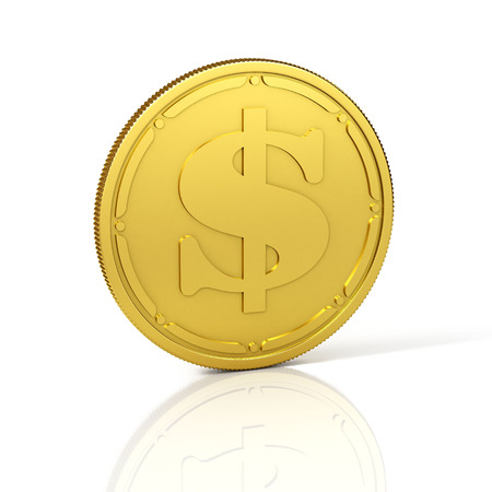 Golden coin with dollar sign. 3D Illustration.