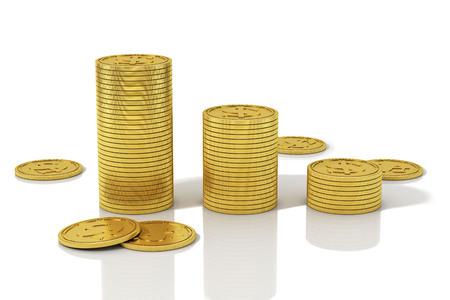 Golden coins stacks. 3D Illustration. Reklamní fotografie - 111829442