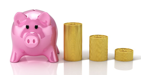 Piggy bank with golden coins stacks. 3D Illustration.