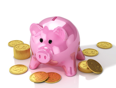 Piggy bank with golden coins. 3D Illustration.