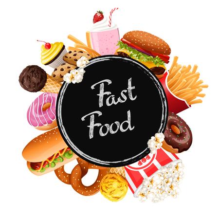 Fast food collection. Vector illustration. Standard-Bild - 111829449