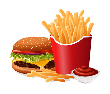 Fast Food French Fries and Burger Illustration