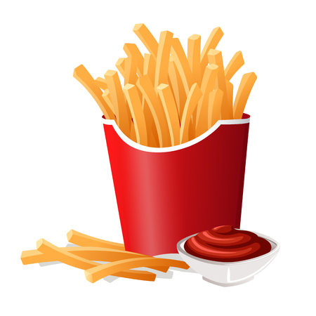 French Fries in Red Carton Package Иллюстрация
