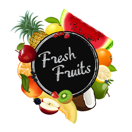 Fresh fruits collection. Vector illustration.