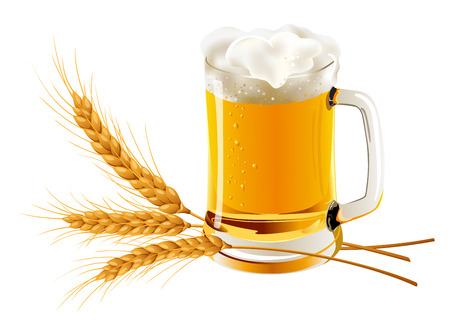 Three isolated spikelets of wheat and glass of beer. Octoberfest. Vector illustration.