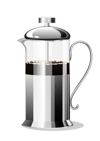 Coffee Making French Press. Vector illustration Reklamní fotografie - 111829459