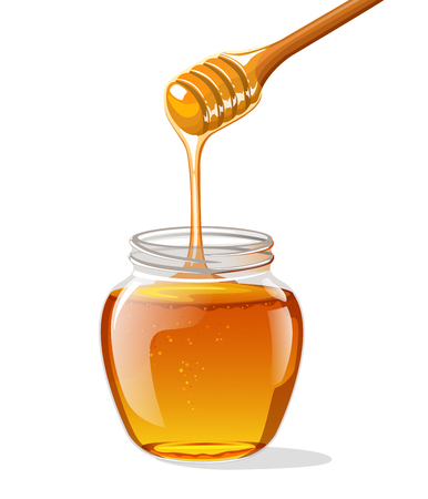 Glass jar of honey with wooden spoon. Vector illustration Иллюстрация