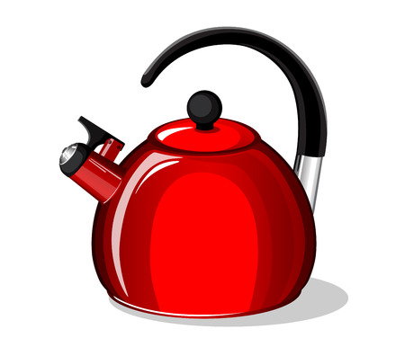 Red whistling kettle isolated on white background Ilustrace