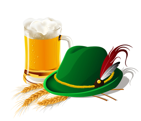 Three isolated spikelets of wheat, Tyrolean Bavarian hat and glass of beer. Octoberfest. Vector illustration. Иллюстрация