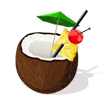 Exotic coconut cocktail. Vector illustration Иллюстрация