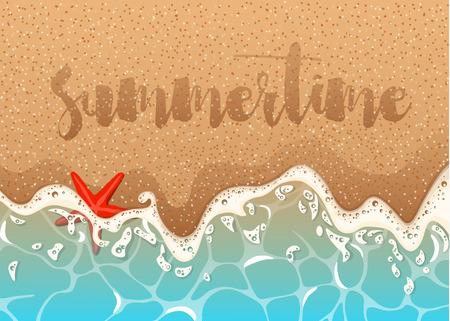 Foamy wave, starfish and shells.