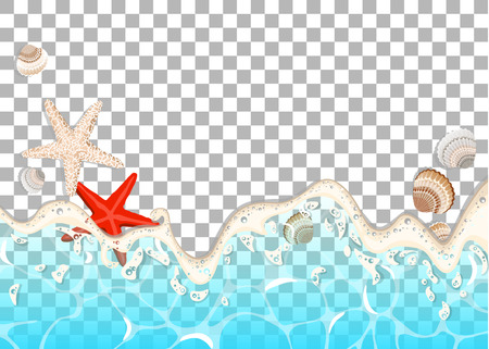 Realistic vector frame of azure foamy wave, starfish and shells. Illustration