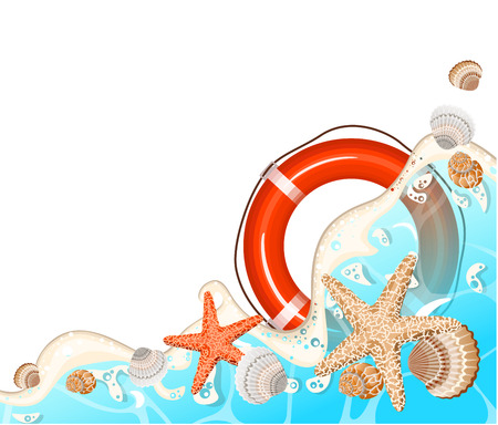 Realistic vector frame of azure foamy wave, starfish and shells. Vettoriali