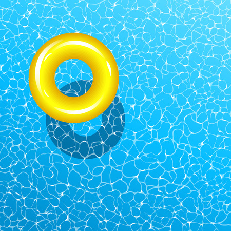 Realistic vector summer poster. Blue water and yellow swim ring.