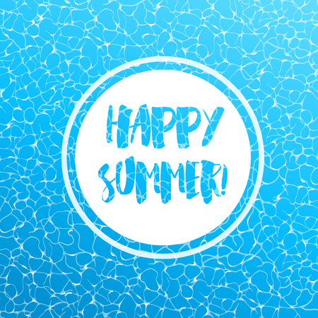 Realistic vector summer poster. Blue water top view.