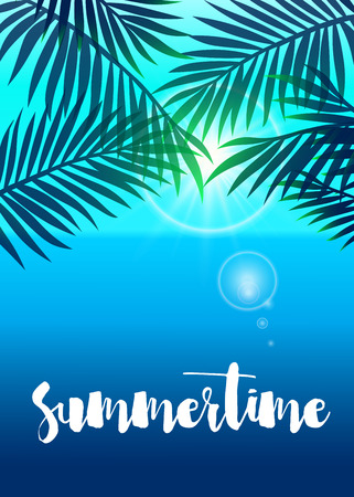 Realistic vector summer poster with palm leaf.