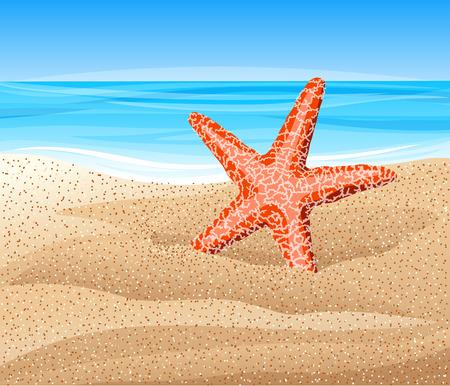 Estrella de mar en la playa. Ilustración vectorial. Ilustración de vector