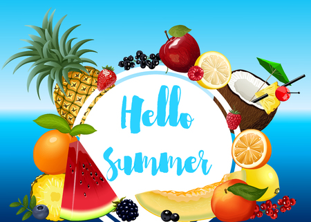 Summer poster with fruits Иллюстрация