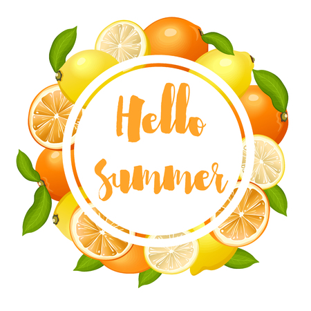 Summer poster with lemons and oranges Иллюстрация