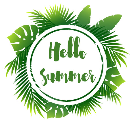 Summer poster with palm leaf Reklamní fotografie - 111829517