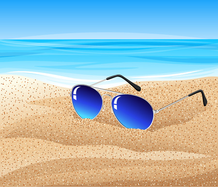Sunglasses on the beach. Vector illustration. Иллюстрация