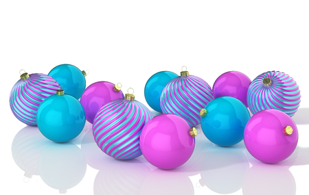 Blue and pink shiny christmas balls. 3D illustration