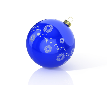 Blue christmas ball with snowflake. 3D illustration Reklamní fotografie