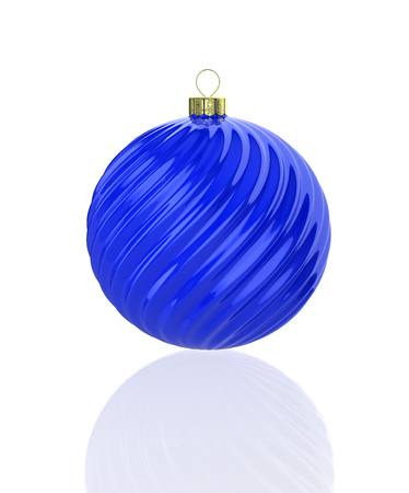Blue shiny waved christmas ball. 3D illustration