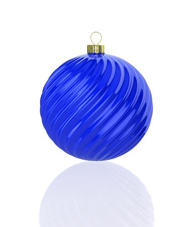Blue shiny waved christmas ball. 3D illustration Standard-Bild - 117036914