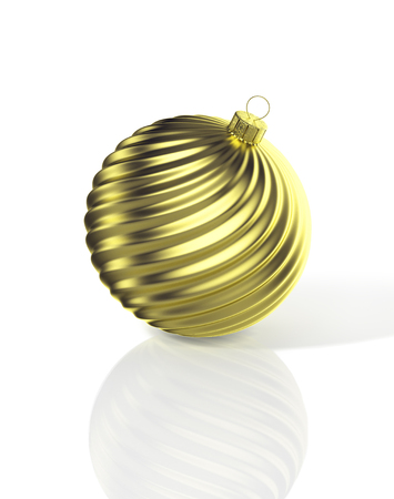 Gold shiny waved christmas ball. 3D illustration Фото со стока
