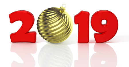 New Year 2019. Design concept with gold shiny waved christmas ball. 3D Illustration. Standard-Bild - 117036922