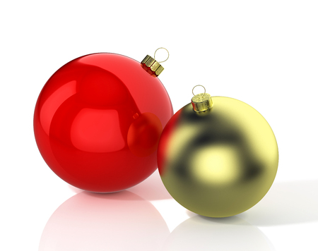 Red and gold shiny christmas balls. 3D illustration