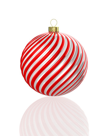 Red and white shiny waved christmas ball. 3D illustration Фото со стока