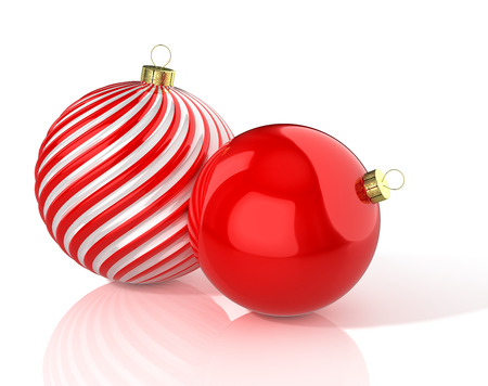 Red and white shiny waved and red christmas balls. 3D illustration