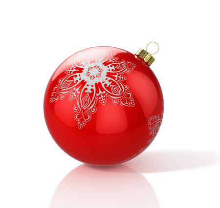 Red christmas ball with snowflake. 3D illustration