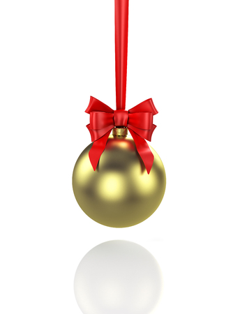 Shiny gold christmas ball with red baw. 3D illustration Reklamní fotografie - 117036932