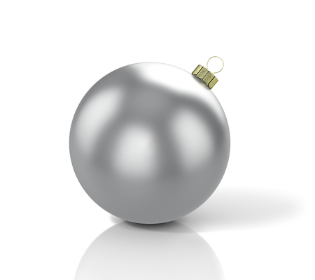 Shiny silver christmas ball. 3D illustration