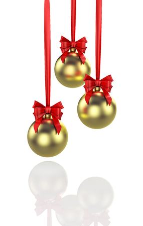 Three shiny gold christmas balls with red baw. 3D illustration
