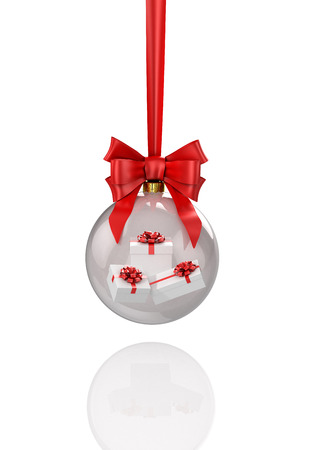 Transparent shiny christmas ball with presents inside and red baw. 3D illustration