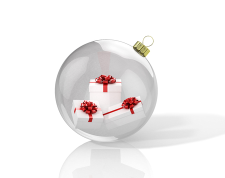 Transparent shiny christmas ball with presents inside. 3D illustration