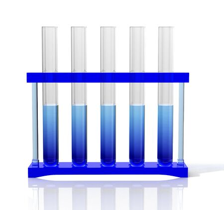 Laboratory test tubes with blue gradient liquid. 3D illustration.