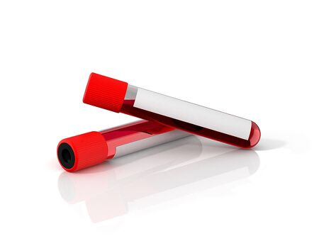 Two test tubes with blood and white sticker isolated on white. 3D illustration.