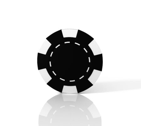 Black casino chip on white background. 3D illustration Reklamní fotografie