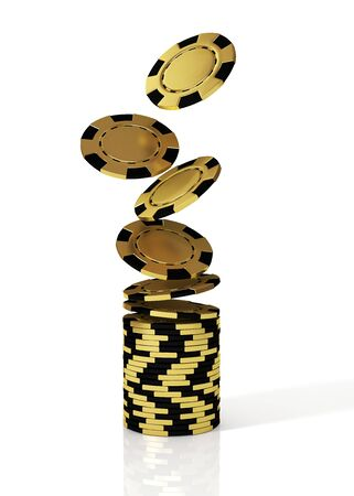 Falling in stack golden casino chips. 3D illustration