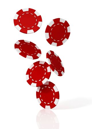Falling red casino chips. 3D illustration Reklamní fotografie