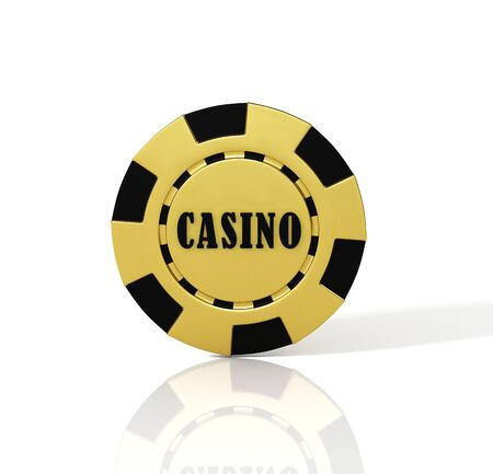 Golden casino chip on white background. 3D illustration