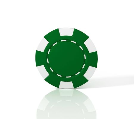 Green casino chip on white background. 3D illustration Reklamní fotografie - 129737349