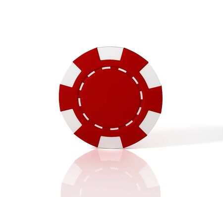 Red casino chip on white background. 3D illustration Reklamní fotografie - 129737550