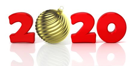 New Year 2020. Design concept with gold shiny waved christmas ball. 3D illustration. Reklamní fotografie